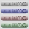 Delete icons on rounded horizontal menu bars in different colors and button styles - Delete icons on menu bars
