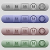Floppy disk icons on menu bars - Floppy disk icons on rounded horizontal menu bars in different colors and button styles