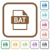 BAT file format simple icons - BAT file format simple icons in color rounded square frames on white background