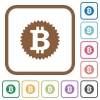 Bitcoin sticker simple icons - Bitcoin sticker simple icons in color rounded square frames on white background