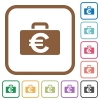 Euro bag simple icons - Euro bag simple icons in color rounded square frames on white background