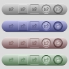 Export icons on menu bars - Export icons on rounded horizontal menu bars in different colors and button styles