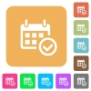 Calendar check rounded square flat icons - Calendar check flat icons on rounded square vivid color backgrounds.