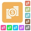 Dollar coins rounded square flat icons - Dollar coins flat icons on rounded square vivid color backgrounds.