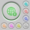 Online Yen payment push buttons - Online Yen payment color icons on sunk push buttons