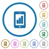 Smartphone signal strength icons with shadows and outlines - Smartphone signal strength flat color vector icons with shadows in round outlines on white background