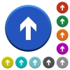 Up arrow beveled buttons - Up arrow round color beveled buttons with smooth surfaces and flat white icons