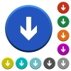 Down arrow beveled buttons - Down arrow round color beveled buttons with smooth surfaces and flat white icons