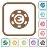 Euro casino chip simple icons - Euro casino chip simple icons in color rounded square frames on white background