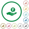 Rupee earnings flat icons with outlines - Rupee earnings flat color icons in round outlines on white background
