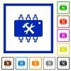 Hardware maintenance flat framed icons - Hardware maintenance flat color icons in square frames on white background
