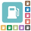 Gas station rounded square flat icons - Gas station white flat icons on color rounded square backgrounds