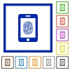 Smartphone fingerprint identification flat framed icons - Smartphone fingerprint identification flat color icons in square frames on white background