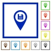 Save GPS map location flat framed icons - Save GPS map location flat color icons in square frames on white background