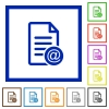 Send document as email flat color icons in square frames on white background - Send document as email flat framed icons