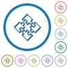 Puzzle pieces icons with shadows and outlines - Puzzle pieces flat color vector icons with shadows in round outlines on white background