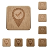 GPS map location ok wooden buttons - GPS map location ok on rounded square carved wooden button styles