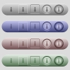 Thermometer icons on menu bars - Thermometer icons on rounded horizontal menu bars in different colors and button styles