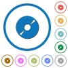 DVD disk icons with shadows and outlines - DVD disk flat color vector icons with shadows in round outlines on white background