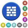 Brick wall beveled buttons - Brick wall round color beveled buttons with smooth surfaces and flat white icons