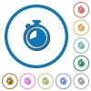 Timer icons with shadows and outlines - Timer flat color vector icons with shadows in round outlines on white background
