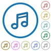Music note flat color vector icons with shadows in round outlines on white background - Music note icons with shadows and outlines