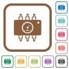 Hardware diagnostics simple icons - Hardware diagnostics simple icons in color rounded square frames on white background