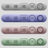 Barcode icons on menu bars - Barcode icons on rounded horizontal menu bars in different colors and button styles