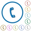 Call icons with shadows and outlines - Call flat color vector icons with shadows in round outlines on white background