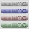 Share icons on menu bars - Share icons on rounded horizontal menu bars in different colors and button styles