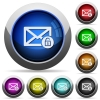 Unlock mail round glossy buttons - Unlock mail icons in round glossy buttons with steel frames