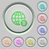 Online Bitcoin payment push buttons - Online Bitcoin payment color icons on sunk push buttons