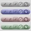 Pencil icons on menu bars - Pencil icons on rounded horizontal menu bars in different colors and button styles