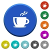Cappuccino beveled buttons - Cappuccino round color beveled buttons with smooth surfaces and flat white icons