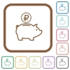 Ruble piggy bank simple icons - Ruble piggy bank simple icons in color rounded square frames on white background