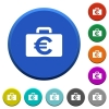 Euro bag beveled buttons - Euro bag round color beveled buttons with smooth surfaces and flat white icons