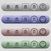 Bank office icons on menu bars - Bank office icons on rounded horizontal menu bars in different colors and button styles