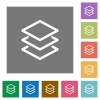Layers flat icons on simple color square backgrounds - Layers square flat icons