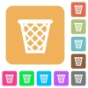 Trash rounded square flat icons - Trash flat icons on rounded square vivid color backgrounds.