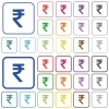 Indian Rupee sign outlined flat color icons - Indian Rupee sign color flat icons in rounded square frames. Thin and thick versions included.