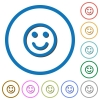 Smiling emoticon icons with shadows and outlines - Smiling emoticon flat color vector icons with shadows in round outlines on white background