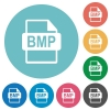 BMP file format flat round icons - BMP file format flat white icons on round color backgrounds