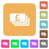 Pound banknotes rounded square flat icons - Pound banknotes flat icons on rounded square vivid color backgrounds.