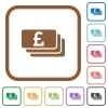 Pound banknotes simple icons - Pound banknotes simple icons in color rounded square frames on white background