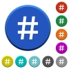 Hash tag beveled buttons - Hash tag round color beveled buttons with smooth surfaces and flat white icons