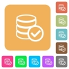 Database ok rounded square flat icons - Database ok flat icons on rounded square vivid color backgrounds.