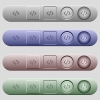 Programming code icons on menu bars - Programming code icons on rounded horizontal menu bars in different colors and button styles