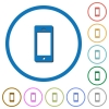 Cellphone with blank display icons with shadows and outlines - Cellphone with blank display flat color vector icons with shadows in round outlines on white background