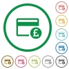 Pound credit card flat icons with outlines - Pound credit card flat color icons in round outlines on white background