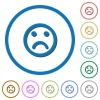 Sad emoticon icons with shadows and outlines - Sad emoticon flat color vector icons with shadows in round outlines on white background